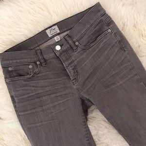 "J.Crew 8"" toothpick jean in grey"